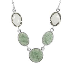 Kiwi Quartz Necklace with Prasiolite in Sterling Silver 33cts