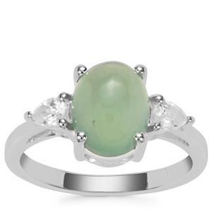 Imperial Serpentine Ring with White Zircon in Sterling Silver 3.22cts