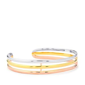 Oval Bangle in Three Tone Gold Plated Sterling Silver