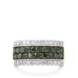 Green Diamond Ring with White Diamond in 9K Gold 2ct