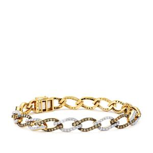 3.95ct Champagne & White Diamond 10K Gold Tomas Rae Bracelet
