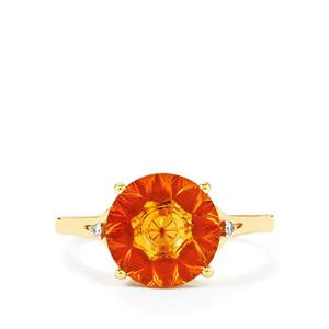 Rio Golden Citrine,Madagascan Ruby Ring with Diamond in 9K Gold 3cts (F)