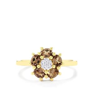 Bekily Color Change Garnet Ring with Diamond in 10k Gold 1.11cts