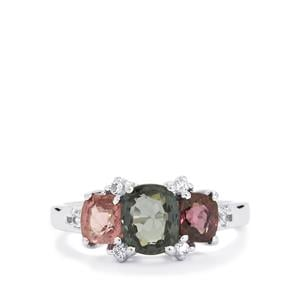 Burmese Multi-Colour Spinel Ring with White Topaz in Sterling Silver 2.80cts