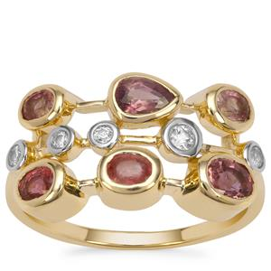 Padparadscha Sapphire Ring with White Zircon in 9K Gold 1.35cts