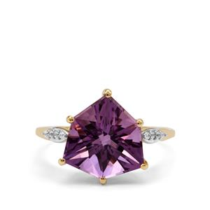Alpine Cut Bahia Amethyst Ring with White Zircon in 9K Gold 4.45cts