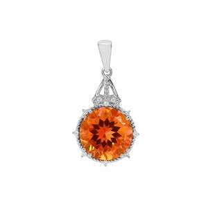 Padparadscha Quartz Pendant with White Zircon in Sterling Silver 8.15cts