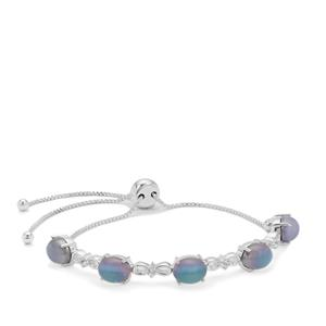 Moonstone Slider Bracelet with White Zircon in Sterling Silver 11.55cts