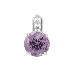 Polka Cut Bahia Amethyst Pendant with White Zircon in Sterling Silver 3.60cts