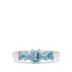 0.86ct Swiss Blue Topaz Sterling Silver Ring