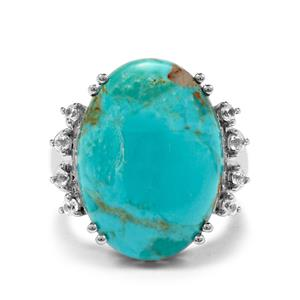 Cochise Turquoise & White Zircon Sterling Silver Ring ATGW 13.14cts