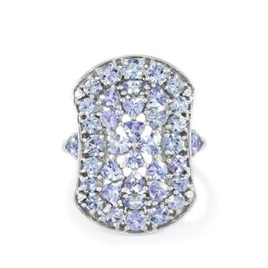 AA Tanzanite & White Zircon Sterling Silver Ring ATGW 3.91cts