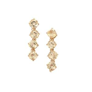 Ouro Preto Imperial Topaz Earrings in 9K Gold 2.30cts