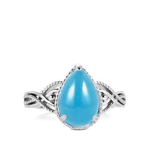 Blue Jade Ring in Sterling Silver 3.85cts