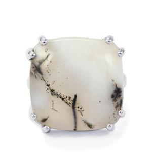 17.27ct Siberian Dendrite Quartz Sterling Silver Ring
