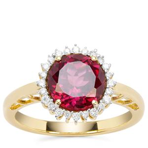 Mahenge Pink Garnet Ring with Diamond in 18K Gold 3.50cts