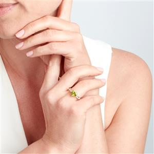 Changbai Peridot Ring with White Zircon in 10k Gold 2.09cts