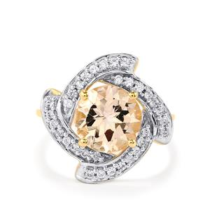Mutala Morganite Ring with White Zircon in 10k Gold 2.78cts