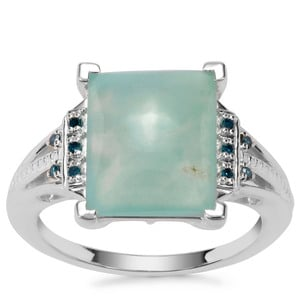 Gem-Jelly Aquaprase™ Ring with Blue Diamond in Sterling Silver 4.91cts