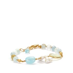 Aquamarine and Luxury Gemstone Sarah Bennett Bracelet in Gold Plated Sterling Silver