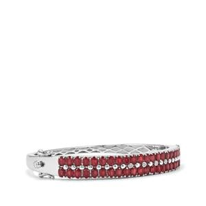 Malagasy Ruby & Diamond Sterling Silver Oval Bangle ATGW 12.87cts (F)
