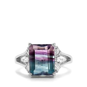 Zebra Fluorite Ring with White Zircon in Sterling Silver 5.56cts