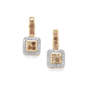 3/4ct Champagne & White Diamond 9K Gold Tomas Rae Earrings