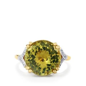 Yellow Apatite Ring with Diamond in 14k Gold 8cts