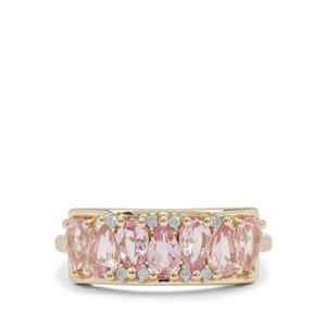 Cherry Blossom™ Morganite Ring with Diamond in 9K Gold 1.30cts