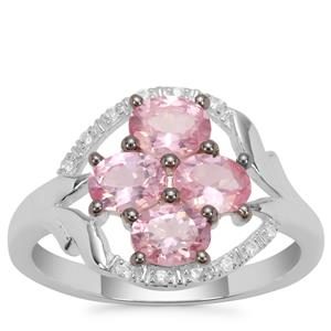 Mozambique Pink Spinel Ring with White Zircon in Sterling Silver 1.56cts