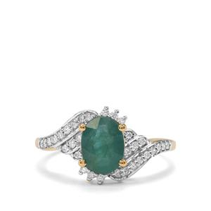 Grandidierite Ring with Diamond in 18K Gold 1.57cts