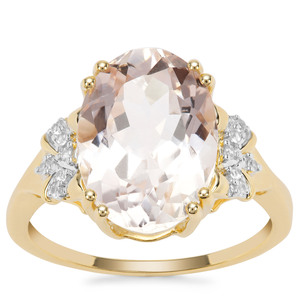 Rose Danburite Ring with White Zircon in 9K Gold 5.98cts