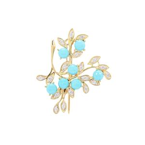 Sleeping Beauty Turquoise Brooch with White Zircon in Gold Plated Sterling Silver 2.44cts