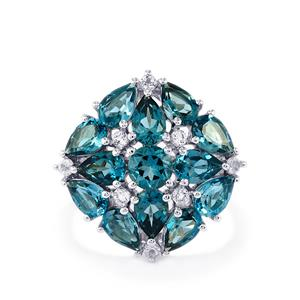 Marambaia London Blue Topaz Ring with White Topaz in Sterling Silver 6.48cts