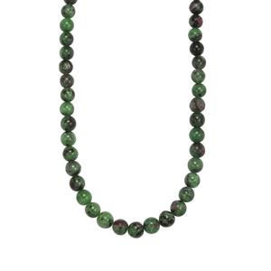 136ct Ruby Zoisite Sterling Silver Graduated Bead Necklace