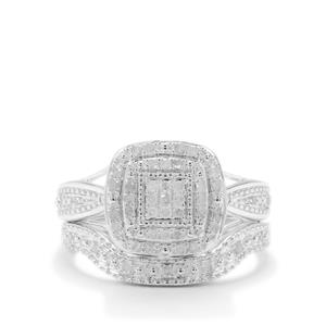 1/3ct Diamond Sterling Silver Set of 2 Stacker Ring