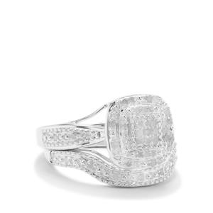 Diamond Set of 2 Stacker Ring in Sterling Silver 0.36ct