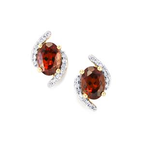 Zanzibar Zircon Earrings with Diamond in 18k Gold 2.66cts