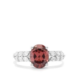 Zanzibar Zircon Ring with Diamond in 18K White Gold 3.31cts
