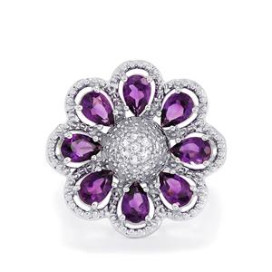 Ametista Amethyst & White Topaz Sterling Silver Ring ATGW 3.46cts