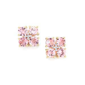 Mozambique Pink Spinel Earrings with Diamond in 10K Gold 1.69cts
