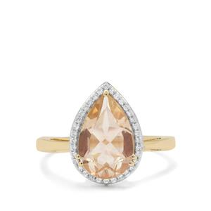 Oregon Cherry Sunstone & White Zircon 9K Gold Ring ATGW 2.75cts