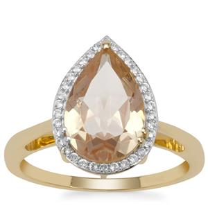 Oregon Cherry Sunstone Ring with White Zircon in 9K Gold 2.75cts