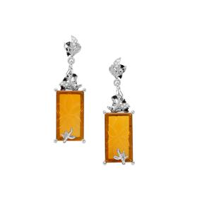 American Fire Opal, Black Spinel Earrings with White Zircon in Sterling Silver 9.88cts
