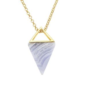 Blue Lace Agate Pendant Necklace in Gold Plated Sterling Silver 25.82cts