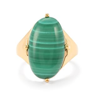 Malachite Ring in Gold Vermeil 14.77cts