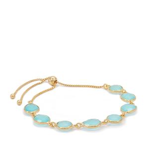Aqua Chalcedony Slider Bracelet in Gold Plated Sterling Silver 17.25cts