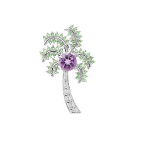 Moroccan Amethyst, Tsavorite Garnet Pendant with White Zircon in Sterling Silver 2.15cts