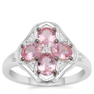 Mozambique Pink Spinel Ring with White Zircon in Sterling Silver 1.51cts
