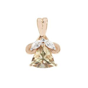 Csarite® Pendant with White Zircon in 9K Gold 1.52cts